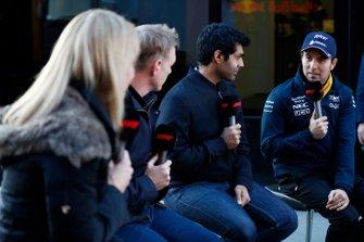 Rachel Brooks, Sky TV, Simon Lazenby, Sky TV, Karun Chandhok, Sky TV et Sergio Perez, SportPesa Racing Point F1 Team