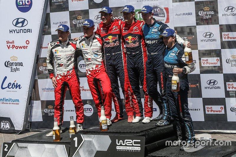 Ganadores, Sébastien Ogier, Julien Ingrassia, Citroën World Rally Team, segundo, Ott Tänak, Martin Järveoja, Toyota Racing, tercero, Elfyn Evans, Scott Martin, M-Sport Ford