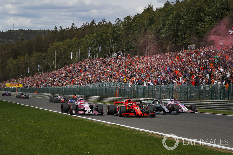 Естебан Окон, Racing Point Force India VJM11, Себастьян Феттель, Ferrari SF71H, Льюіс Хемілтон, Mercedes AMG F1 W09, Серхіо Перес, Racing Point Force India VJM11