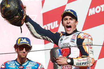 Podium : le vainqueur et Champion du monde, Marc Marquez, Repsol Honda Team