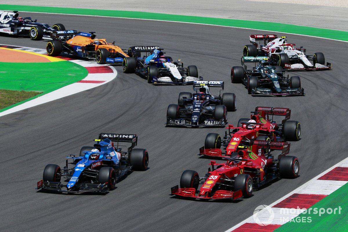 Esteban Ocon, Alpine A521, Carlos Sainz Jr., Ferrari SF21, Charles Leclerc, Ferrari SF21, Pierre Gasly, AlphaTauri AT02, Sebastian Vettel, Aston Martin AMR21, Antonio Giovinazzi, Alfa Romeo Racing C41, and George Russell, Williams FW43B