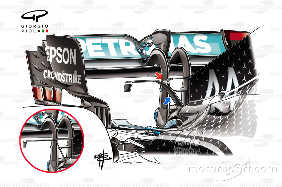 Mercedes F1 W11 T-wing comparison detail