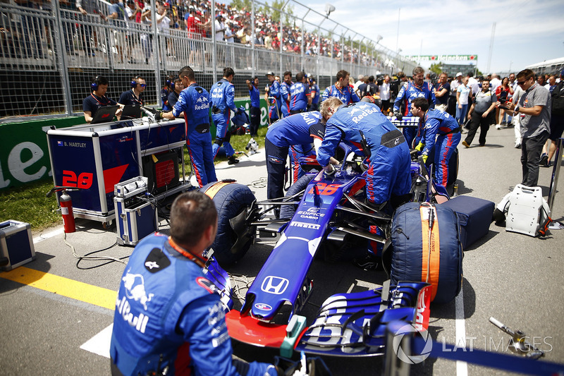 The Brendon Hartley Toro Rosso is worked on by mechanics on the grid