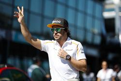 Fernando Alonso, McLaren, at the drivers parade