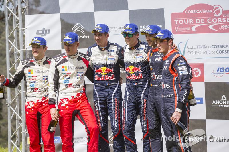 Podium: Winners Sébastien Ogier, Julien Ingrassia, M-Sport Ford WRT Ford Fiesta WRC, second place Ot