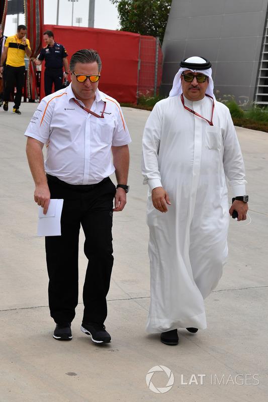 Zak Brown, McLaren Executive Director and Sheikh Mohammed bin Essa Al Khalifa, CEO of the Bahrain Economic Development Board and McLaren Shareholder