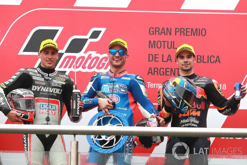 Second place Xavi Vierge, Dynavolt Intact GP, Race winner Mattia Pasini, Italtrans Racing Team Third place Miguel Oliveira, Red Bull KTM Ajo