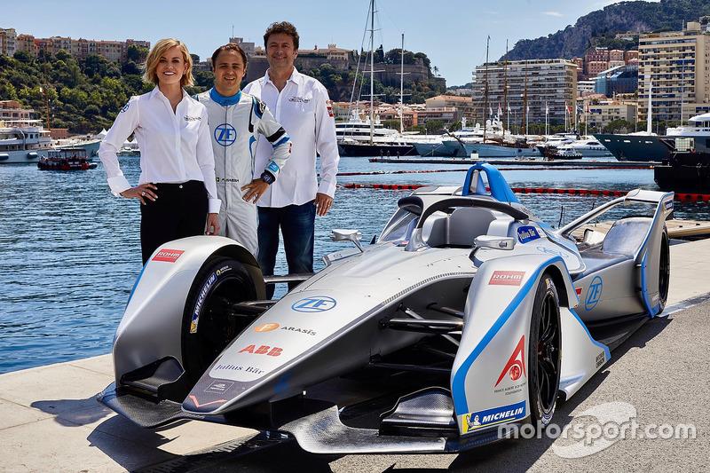 Susie Wolff, jefa de equipo de Venturi Formula E Team, Felipe Massa, Venturi Formula E Team, Gildo Pallanca Pastor, propietario de Venturi Formula E Team