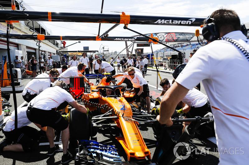 The McLaren team practise pit stops