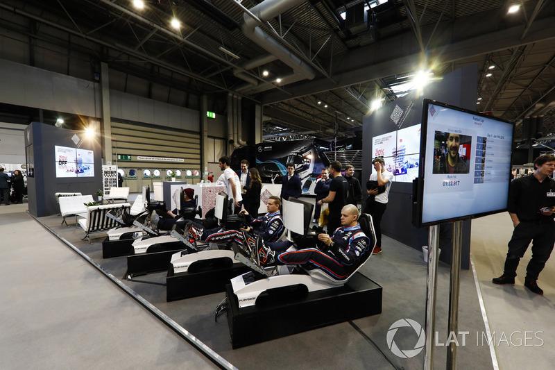 Drivers try the Bahrain International Circuit simulators