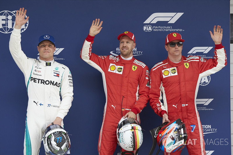 Top three Qualifiers Sebastian Vettel, Ferrari, Kimi Raikkonen, Ferrari, and Valtteri Bottas, Merced