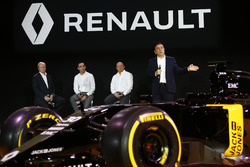 Carlos Ghosn, Renault President launching the Renault R.S. 16 with Jerome Stoll, Renault Sport F1 president, Cyril Abiteboul, Renault Sport F1 managing director and Frederic Vasseur, team manager Renault Sport F1 team