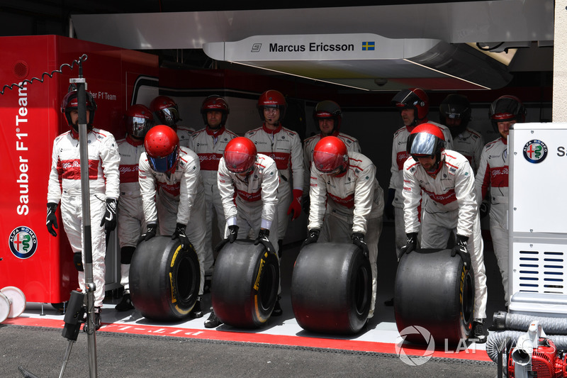 L'équipe Sauber s'entraîne aux pitstops