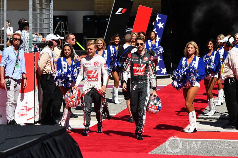 Kevin Magnussen, Haas F1 y Romain Grosjean, Haas F1