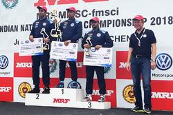 Podium: race winner Saurav Bandyopadhyay, second place Anmol Singh Sahil, third place Dhruv Mohite