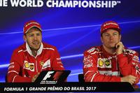 Race winner Sebastian Vettel, Ferrari and Kimi Raikkonen, Ferrari in the Press Conference
