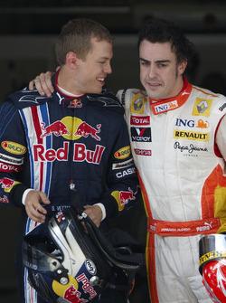 Sebastian Vettel, Red Bull Racing with Fernando Alonso, Renault F1 Team