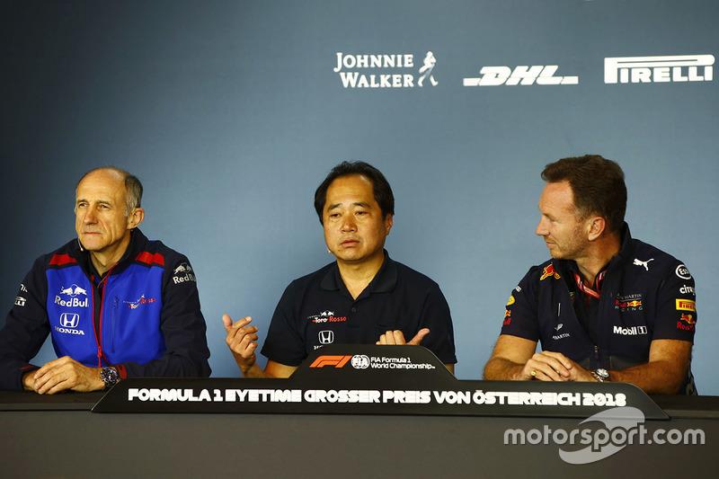 Franz Tost, Team Principal, Toro Rosso, Toyoharu Tanabe, Direktur Teknis F1, Honda, Christian Horner, Team Principal, Red Bull Racing