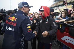 Max Verstappen, Red Bull Racing, greets Lewis Hamilton, Mercedes AMG F1