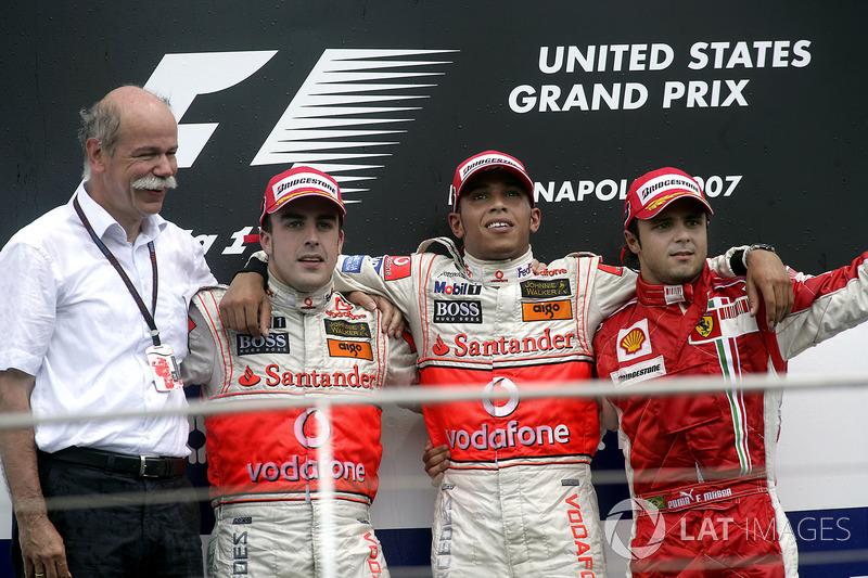 2007: 1. Lewis Hamilton, 2. Fernando Alonso, 3. Felipe Massa