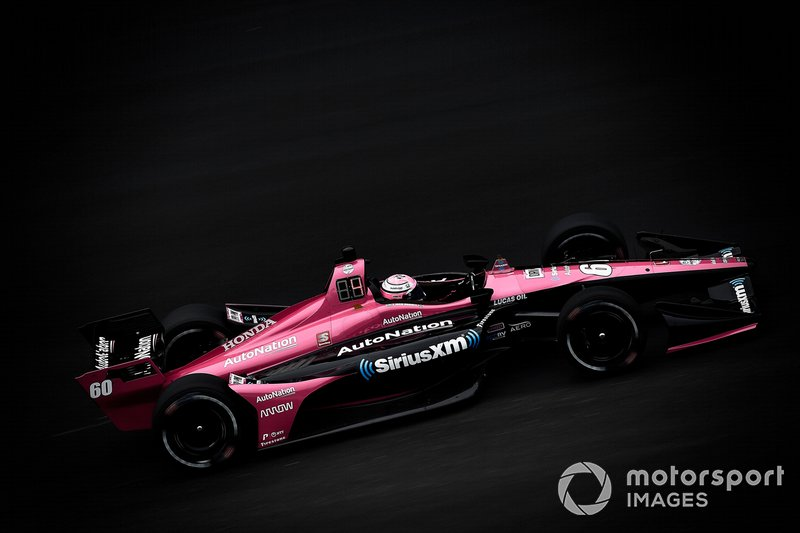 Jack Harvey's Meyer Shank Racing with Arrow SPM-Honda carries the Arrow logo (just ahead of the rear wheels) and also has the livery layout of its sister cars.