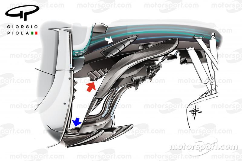 Mercedes F1 W09 bargeboard, Olasz GP