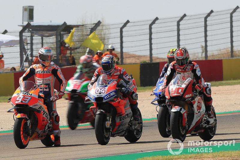 Marc Marquez, Repsol Honda Team, Andrea Dovizioso, Ducati Team, prova di partenza