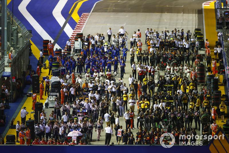 La parrilla del circuito de Singapur