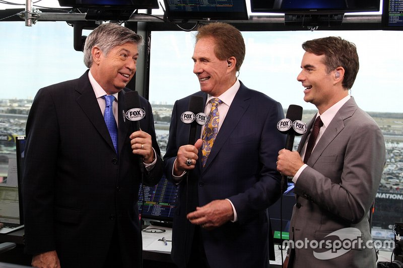 FOX NASCAR commentary booth: Mike Joy, Darrell Waltrip & Jeff Gordon