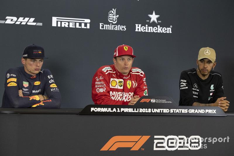 Max Verstappen, Red Bull Racing, Kimi Raikkonen, Ferrari y Lewis Hamilton, Mercedes AMG F1