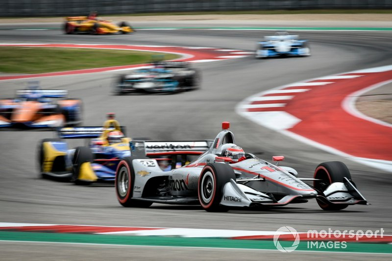 Will Power leads Alexander Rossi, Scott Dixon, Colton Herta, Josef Newgarden and Ryan Hunter-Reay at COTA, March 2019.