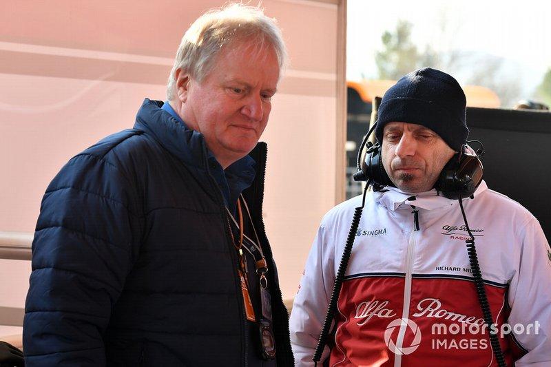 Jo Bauer, FIA Technical delegate and Simone Resta, Alfa Romeo Racing Designer