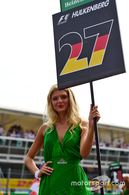 Grid girl for Nico Hulkenberg, Sahara Force India F1
