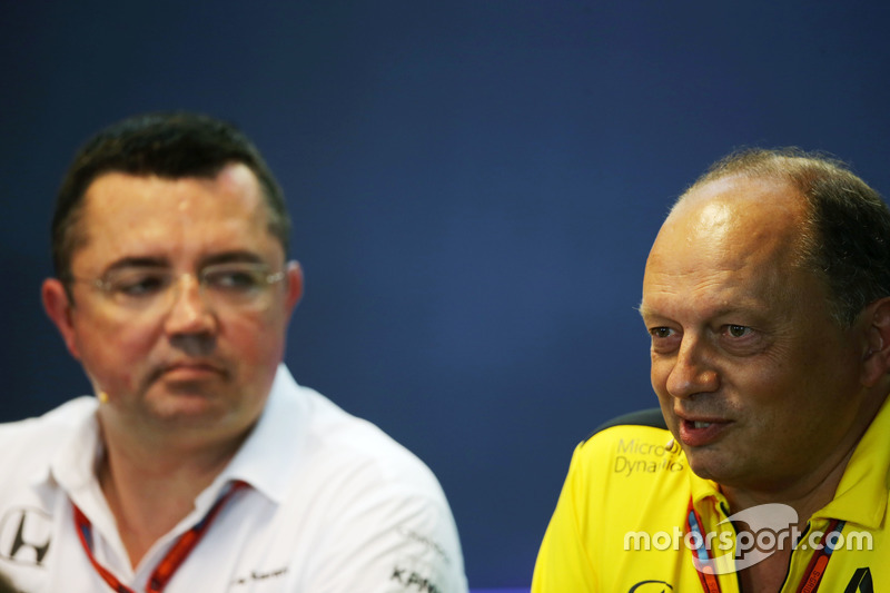 (L to R): Eric Boullier, McLaren Racing Director and Frederic Vasseur, Renault Sport F1 Team Racing Director in the FIA Press Conference