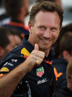 Christian Horner, director del equipo Red Bull Racing celebra