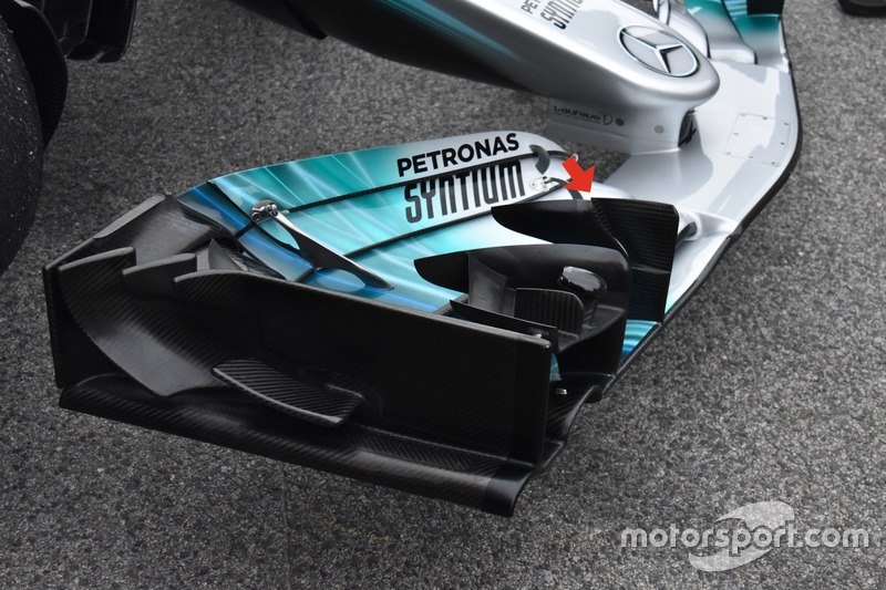 L'aileron avant en cascade de la Mercedes AMG F1 W08