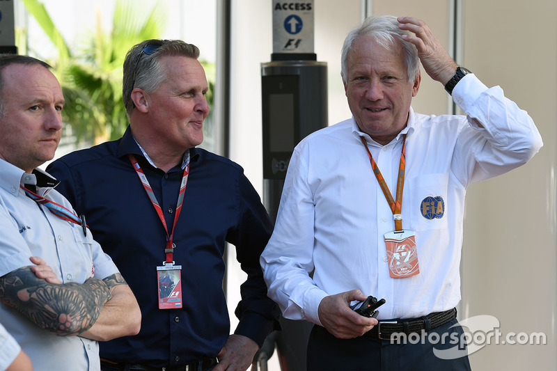 Johnny Herbert, Sky TV and Charlie Whiting, FIA Delegate
