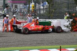 La monoposto incidentata di Kimi Raikkonen, Ferrari SF70H