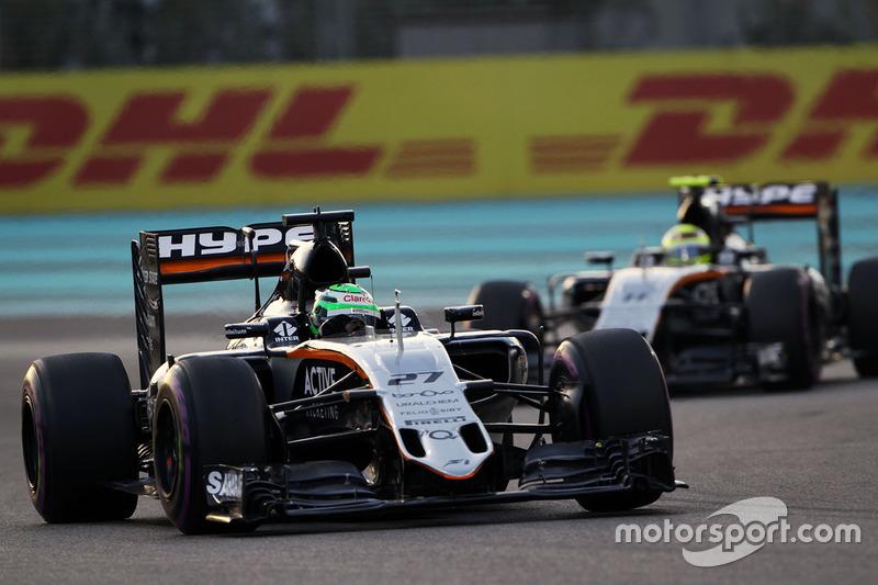 Nico Hulkenberg, Sahara Force India F1 VJM09 leads team mate Sergio Perez, Sahara Force India F1 VJM09