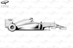 Ferrari F14T side view, no front wheel or suspension shows suspension pickup points and chassis step