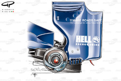 Williams FW32 rear wing and brake detail