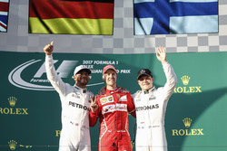Lewis Hamilton, Mercedes AMG, 2nd Position, Sebastian Vettel, Ferrari, 1st Position, and Valtteri Bottas, Mercedes AMG, 3rd Position, on the podium