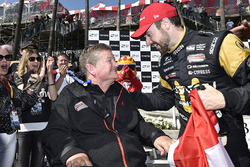 James Hinchcliffe, Schmidt Peterson Motorsports Honda and Sam Schmidt celebrates