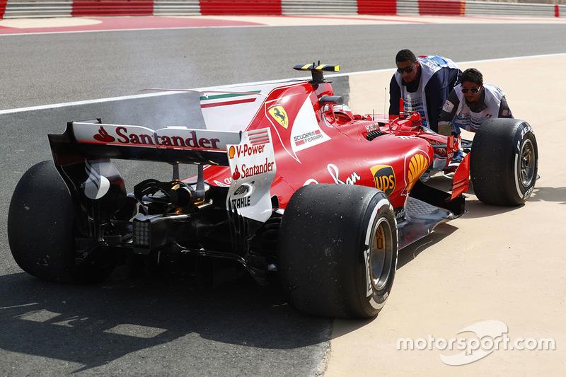 Car of Kimi Raikkonen, Ferrari SF70H, after he stopped on track