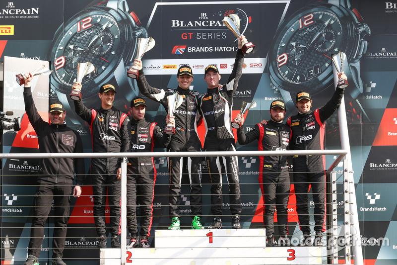 Podium: race winners Christian Engelhart, Mirko Bortolotti, GRT Grasser Racing Team, second place Stuart Leonard, Robin Frijns, Team WRT, third place Will Stevens, Markus Winkelhock, Belgian Audi Club Team WRT