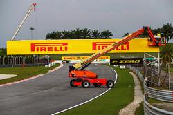 Pirelli signage is erected
