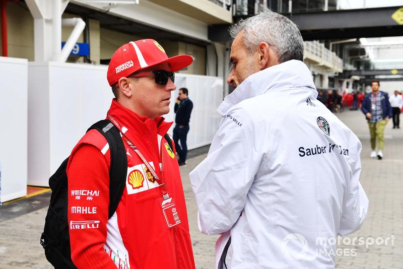Kimi Raikkonen, Ferrari, Beat Zehnder, Alfa Romeo Sauber F1 Team Manager