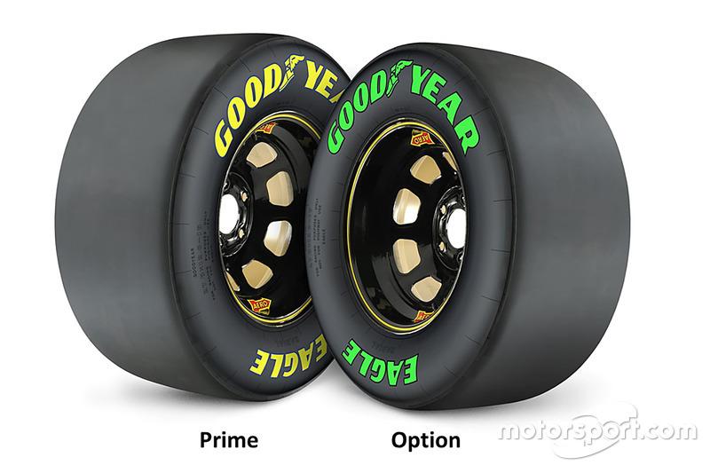 Goodyear-Reifen: Prime (gelb, hart) und Option (grün, weich)