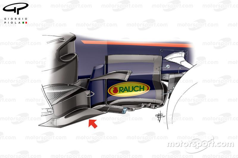 Red Bull RB13 nuevo bargeboard, subtítulos, GP británico