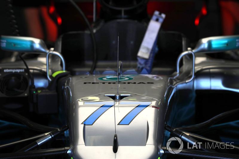 Car of Valtteri Bottas, Mercedes-Benz F1 W08 Hybrid in the garage